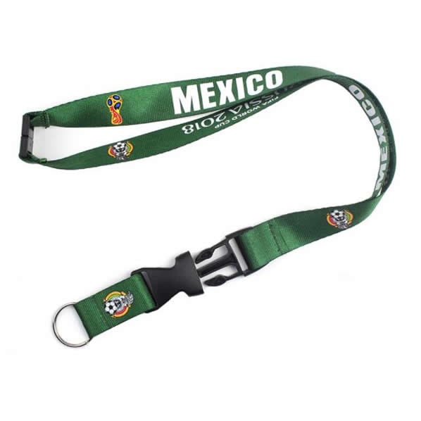 World Cup Custom Logo Printed Nylon Linking Woven Lanyard With Special Hook